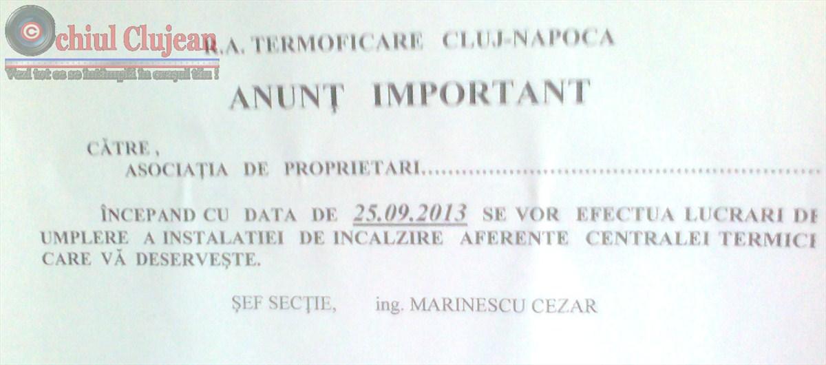 Regia de Termoficare Cluj dă drumul la căldură de probă.