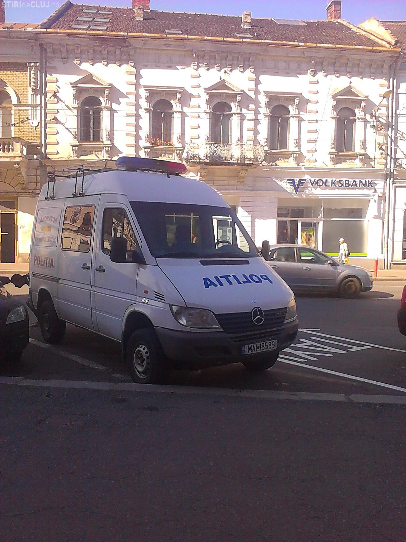 Bancomatul bancii Volksbank a fost spart in centrul Clujului-FOTO