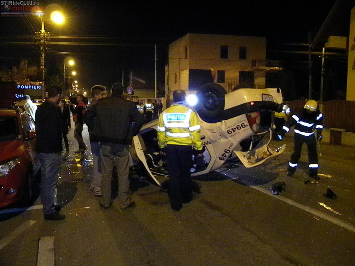 Accident grav in Gheorgheni! Un taximetru s-a rasturnat pe strada Septimiu Albinii FOTO