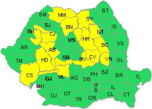 Cod galben de ninsori viscolite și vânt, în zona montană din Transilvania