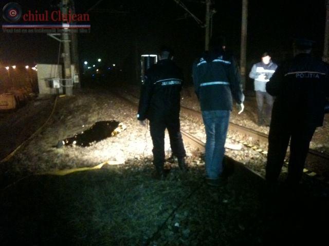 Accident feroviar in Cluj-Napoca! Barbat lovit de tren in zona Selgros FOTO