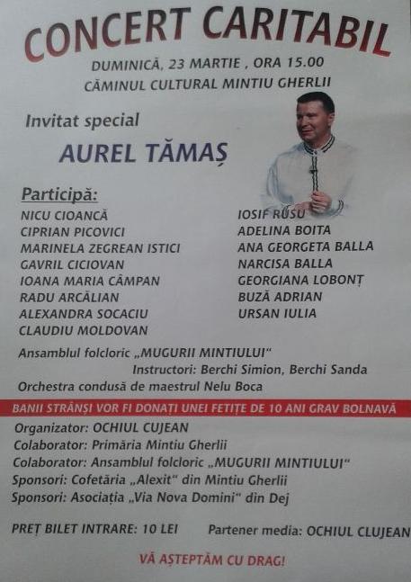 Concert caritabil pentru fetita de 10 ani grav bolnava