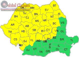 Avertizare METEO! Cluj si inca 29 de judete intra sub COD GALBEN de ploi