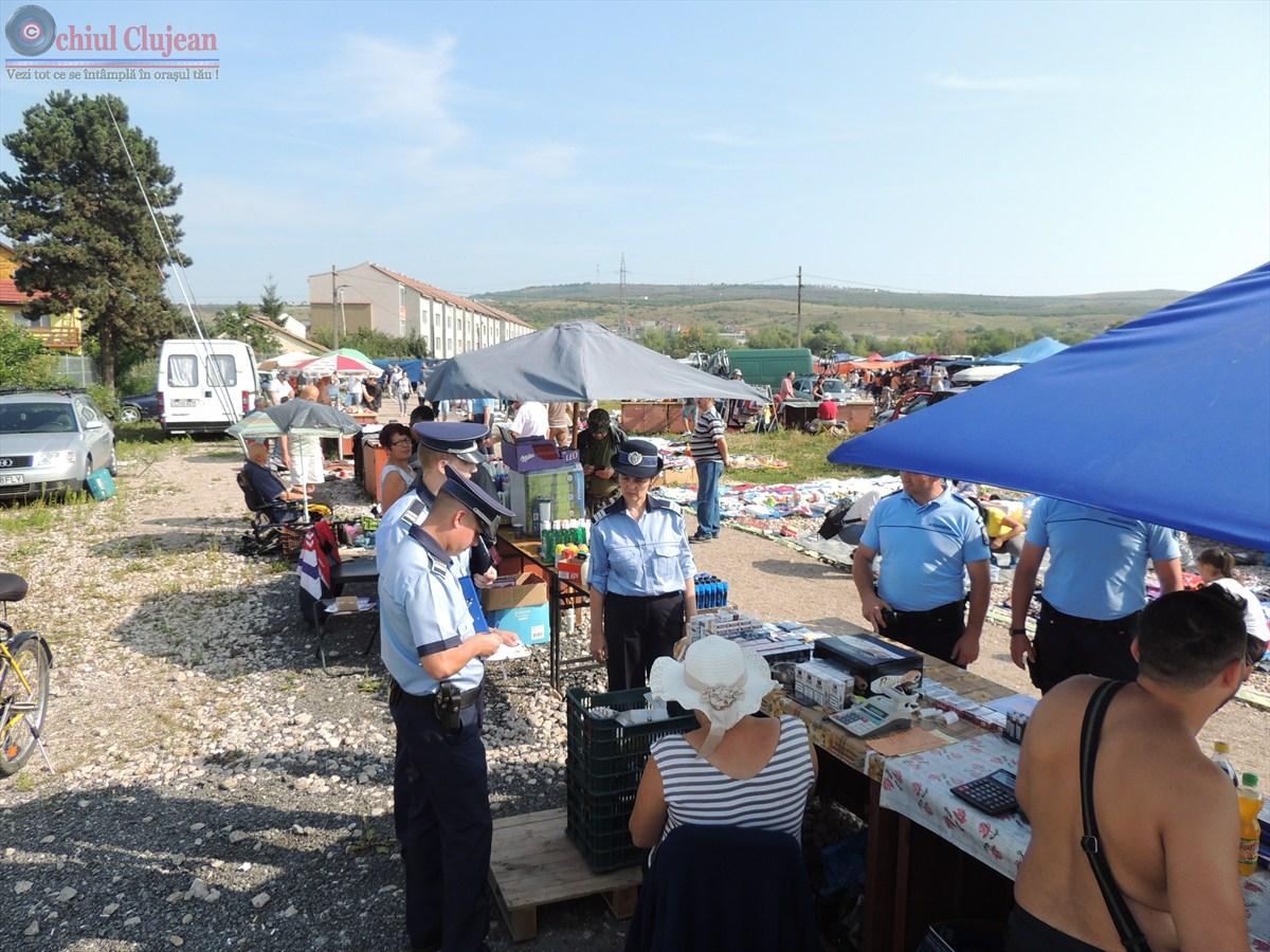 Actiune de amploare a politistilor in Piata Oser din Cluj-Napoca