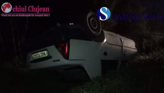 Accident la Jucu! S-a rasturnat cu masina politiei  VIDEO