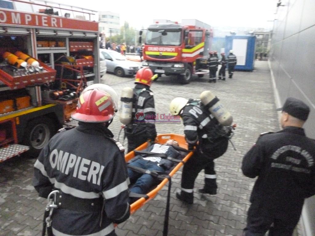 Simulare incendiu in Parcul industrial Tetarom. Peste zece autospeciale au fost implicate FOTO
