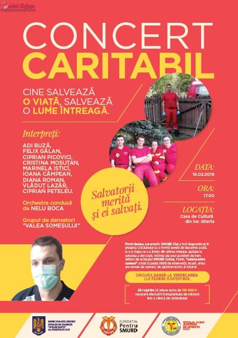 Concert caritabil pentru salvatorul de vieti Florin Benea paramedic SMURD Cluj, la Gherla