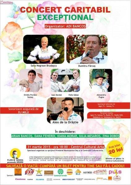 Alex de la Orastie, Sava Negrean Brudascu si Dumitru Farcas vor canta la Dej in scop caritabil, pentru Florin Benea