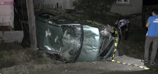 Un șofer începător s-a rastogolit cu mașina, la Dej. Era beat VIDEO