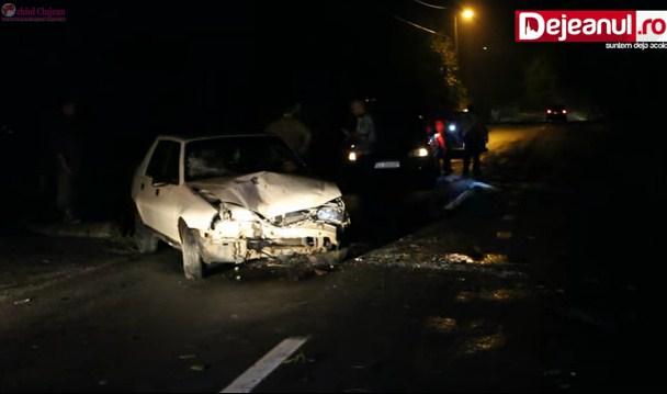 Un șofer rupt de beat s-a răsturnat cu mașina în șanț la Dej VIDEO