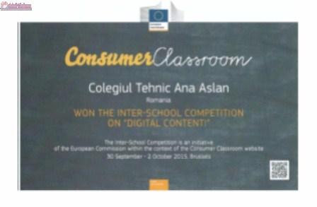 Premiu I pentru 10 elevi clujeni de la Colegiul Tehnic Ana Aslan, la Concursul interșcolar Consummer Classroom 2015