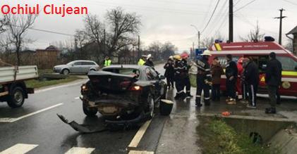 Accident pe un drum din Cluj! Trei persoane au fost ranite VIDEO