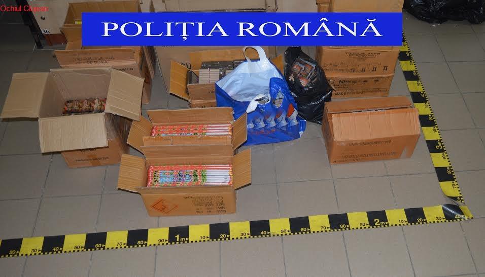 Cluj: Peste 152.000 de articole pirotehnice, fara acte de provenienta, confiscate de politisti