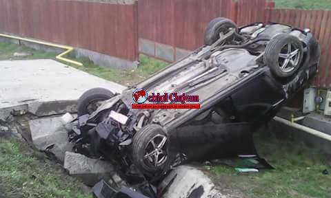 Sălaj: Accident MORTAL în Ileanda!  Un clujean a murit după ce s-a răsturnat cu mașina FOTO