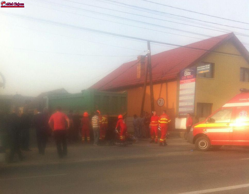 Accident MORTAL în Florești! Biciclist spulberat de o autobasculantă FOTO