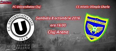 Fotbal: FC Universitatea Cluj – Atletic Olimpia Gherla, sâmbătă 8 octombrie