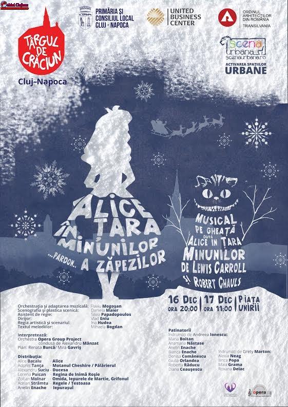 Alice va transforma Piața Unirii în Țara Zăpezilor! Musical pe gheață cu personaje de poveste pe patinoarul Târgului de Crăciun Cluj-Napoca