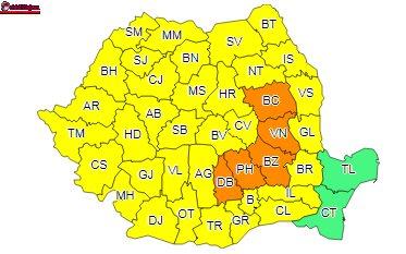 Cod galben și portocaliu de furtuni în țară