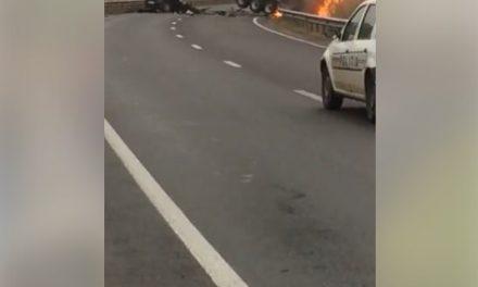 Accident GRAV urmat de un incendiu pe un drum din Cluj. O persoană și-a pierdut viața VIDEO