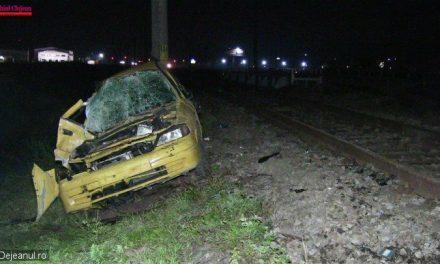 Mașină lovită de tren la Jucu. Șoferul a dispărut VIDEO