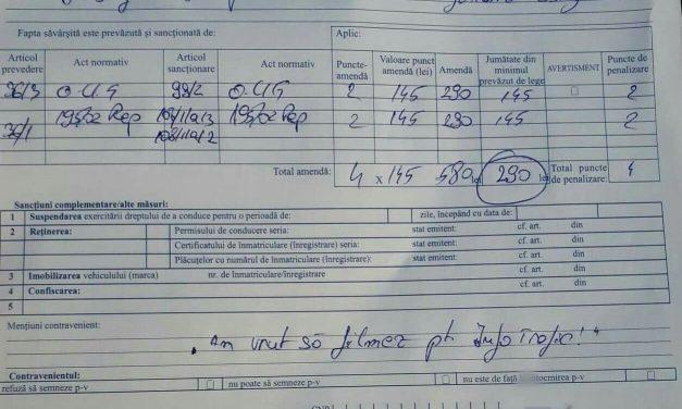 Cluj: Șofer amendat de poliție pentru că filma