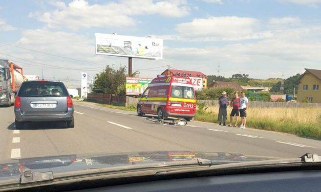 Biciclist rănit grav de o mașină, în Gilău FOTO