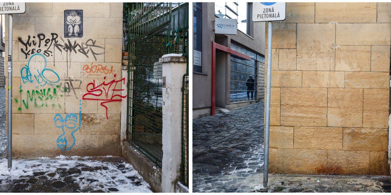 Cluj: Testare instalație ecologică de curățat graffiti