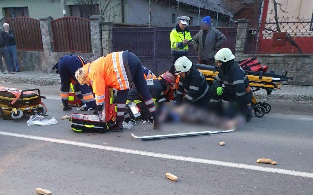 Accident în comuna Mihai Viteazul. O femeie în stop cardio-respirator FOTO